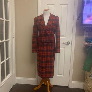 VTG JH Collectibles Red Tartan Wool Skirt Suit Set